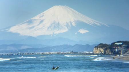 稲村ケ崎で富士山