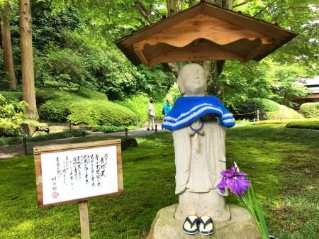 明月院の庭園の青地蔵