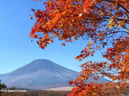 山中湖夕焼けの渚の富士山と紅葉