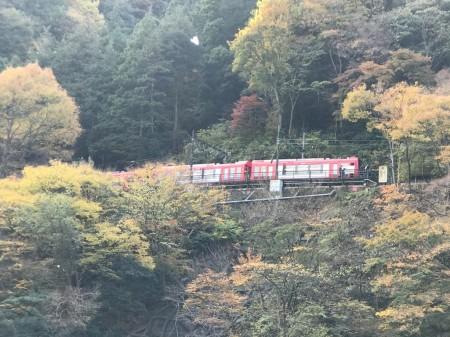 箱根早川橋梁(出山の鉄橋)撮影スポットから箱根登山鉄道のスイッチバック地点を見る