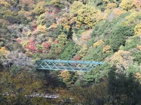 箱根早川橋梁(出山の鉄橋)の紅葉を箱根登山鉄道スイッチバック地点から